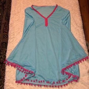 Blue and pink swimsuit cover up poncho
